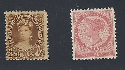 2x Prince Edward Island MH stamps #5-2P VF & #10-4 1/2d F  Guide Value = $50.00