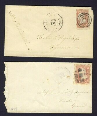 2x USA. small stamped covers 3c Washington Fancy Cancels PM ????LAGE & HARTFORD