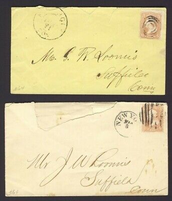 2x USA. stamped covers 3c Washington Fancy Cancels PM NEW YORK & ????