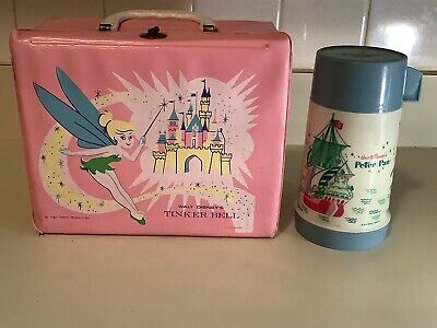Vintage 1969 Tinker Bell Walt Disney Lunchbox With Peter Pan Aladdin Thermos