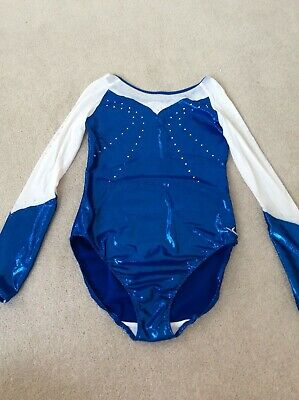 """Decathlon Long Sleeve Shimmer And Mesh Leotard With Diamante Detailing Size 34"""""""