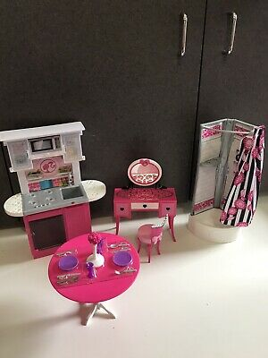 Lot Barbie Doll House Furniture Kitchen set Vanity Chair New Table dishes shower