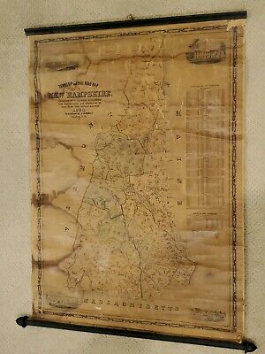 Vintage 1854 J.R Dodge Township And Railroad Map Of New Hampshire