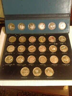 "14.7 oz Sterling Silver Bullion 21 Coins 1969 ""Men In Space"" 1st Ed Danbury Mint"