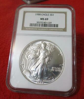 1988 NGC MS 69 Uncirculated American Silver Eagle Dollar  ASE          #MF-T2045