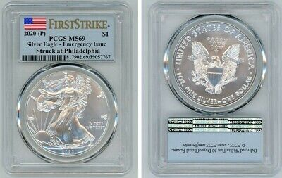 2020 (P) Silver American Eagle $1 Pcgs Ms69 Emergency Issue Firststrike 296
