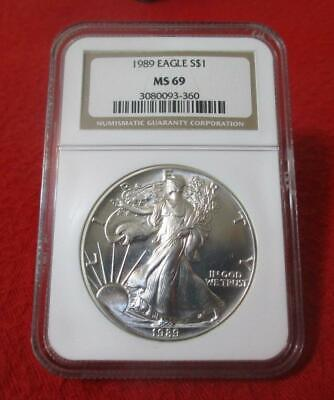 1989 NGC MS 69 Uncirculated American Silver Eagle Dollar  ASE          #MF-T2046