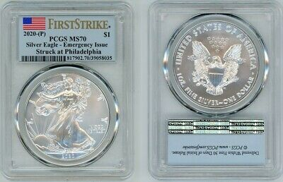 2020 (P) Silver American Eagle $1 Pcgs Ms70 Emergency Issue Firststrike 286