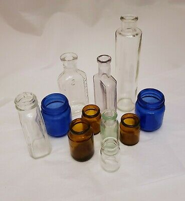 VTG Antique Lot 11 Apothecary Pharmacy Drug Store Glass Medicine Bottles Jars