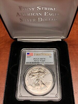 2017 PCGS MS70 FIRST STRIKE American Silver Eagle Dollar FLAG Label w/ Case $1