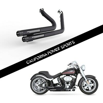 SLIP ON PIPE MUFFLER EXHAUST FIT Harley Softail 2006-2011 2008 Deluxe FLSTN M2