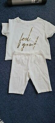 Lovely Girls White Top And Cycling Shorts Aged 5/7
