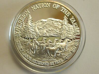 Silver Round Franklin Mint 1972 Proof Yakima Indian Tribal Nation Medallion