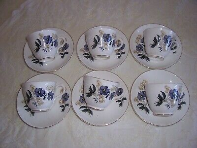6 x vintage tea cups & saucers royal graton bone china english floral 99p no res
