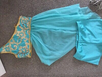 Girls age 14 dance costume green and gold excellent condition top and shorts