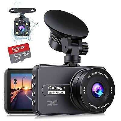 Dash Cam For Cars Front and Rear(32g Card Included)Full HD 1080P Carigogo Dua...