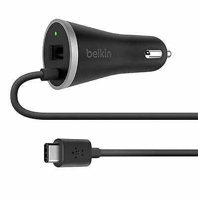 Belkin USB-C Car Charger with 4' Hardwired USB-C Cable (3 Amp/15 Watt)(F7U006...