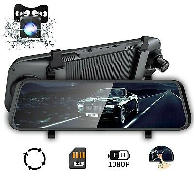 """Mirror Dash Cam 10"""" Backup Camera, Dash Cam Front and Rear Dual Lens Touch Sc..."""