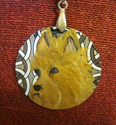 Australian Terrier hand-painted on metal penant/bead/necklace