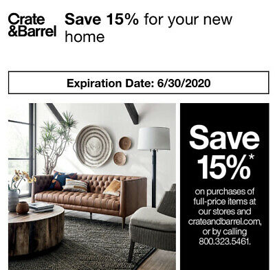 Crate & Barrel Coupon 15% Off Full Priced Order Includes Furniture. Exp 8/31/20