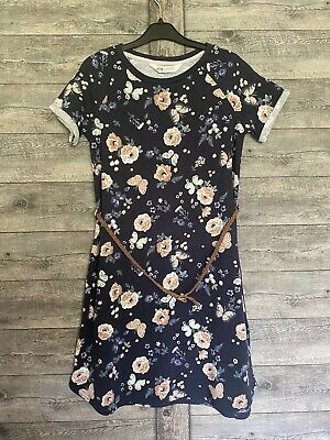 Girls H&M Dress Age 8-10 Years BNWOT Floral Sports Dress With Tan Belt