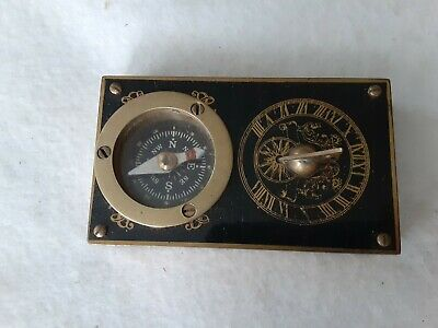 Vintage Brass Bound Compass And Sundial nautical instrument