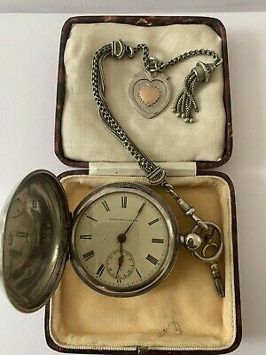 Antique Chester Full Hunter Solid Silver Pocket Watch+Albertina Chain+Fob
