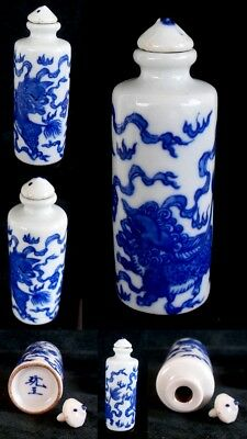 CHINESE - CHINA PORCELAIN SNUFF BOTTLE - BLUE - WHITE- SIZE 8.3x2.5cms  LOT574D