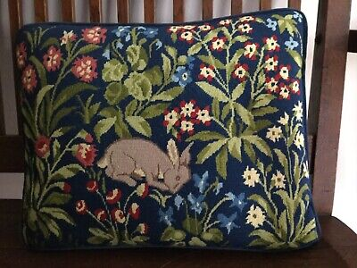 Exquisite 1950's Hand Petit Point Wool Stitched Pillow William Morris Rabbit
