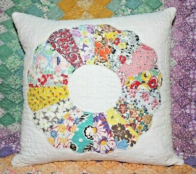NEW Throw Pillow Made From Vintage 1930's Handmade Quilt DP14-A