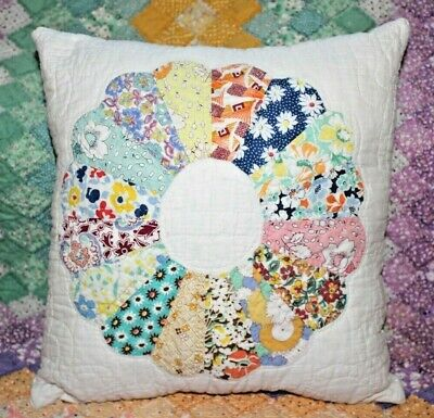 NEW Throw Pillow Made From Vintage 1930's Handmade Quilt DP14-E