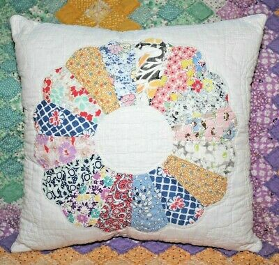 NEW Throw Pillow Made From Vintage 1930's Handmade Quilt DP14-F