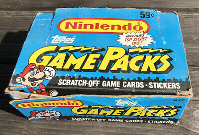 Nintendo Gamepacks Topps Scratch Off Cards Stickers 1989 Box 24 Game Packs New