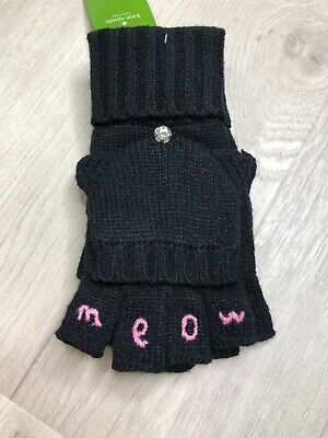 Kate Spade New York Gloves Meow Pop Top Mittens Gloves Black NEW