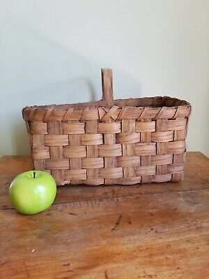 Antique Primitive Splint Wood Handled Gathering Basket