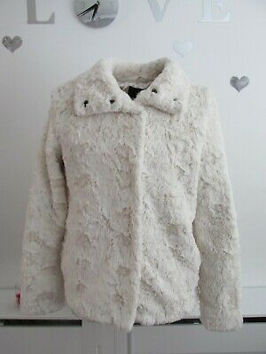 Girls Super Cute Cream Fluffy Coat by H & M Age 14 years Jacket