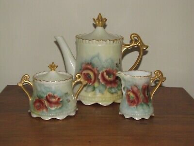 HAND PAINTED VINTAGE TEAPOT wi SUGAR AND CREAMER