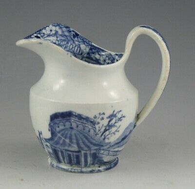 Antique Pottery Pearlware Blue Transfer Llama Rider Pattern Helmet Creamer 1825