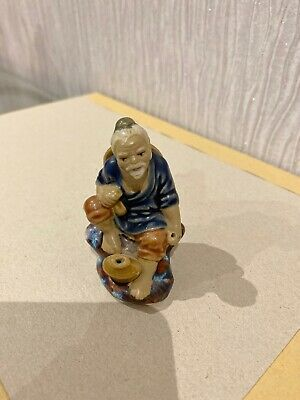 Vintage Chinese Shiwan Art Pottery Mud Man Fisherman