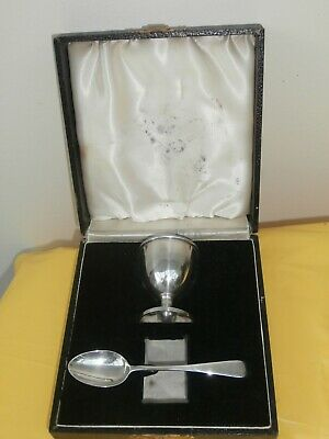 Boxed  Silver Egg Cup And Spoon Gift Set -  Bravingtons Ltd