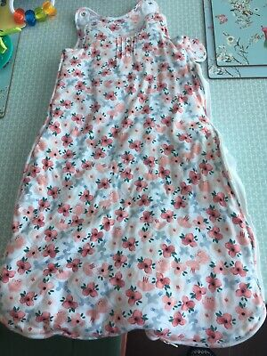 M&S Sleeping Bag 2.5 Tog White with Pink & Blue Flowers 0/6 Months Old Ex Cond