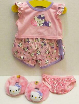 Build A Bear Pink Hello Kitty Pajamas Outfit Top Shorts Slippers 5 Pc Set Lot