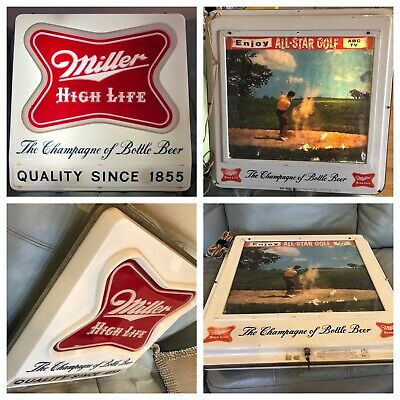 Vintage 1960's Miller High Life ABC ALL STAR GOLF Lighted Sign Double Sided 21""