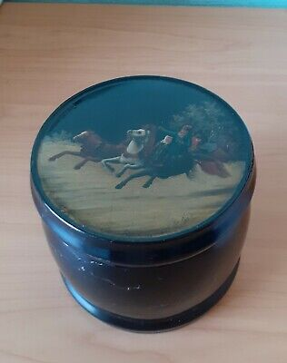 Antique Russian Lacquered Hand Painted Tea Caddy 1882 ?