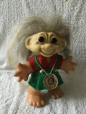 VINTAGE ORIGINAL 1960s THOMAS DAM TROLL WITH GREY HAIR, CLOTHING & ORIGINAL TAG