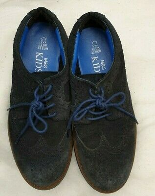 Marks & Spencer Kids Boys Blue Suede Brogues Shoes Size Uk 13 M&S