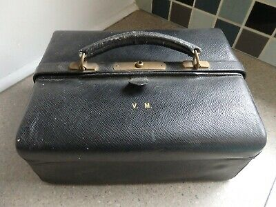 Antique Black Leather Gladstone Vanity Case Silver Gilt London 1929