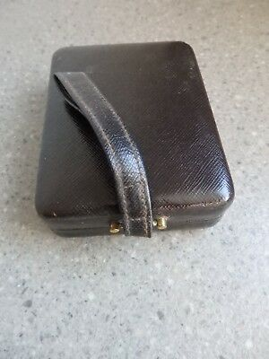 Vintage Art Deco Leather Ladies Vanity Clutch Bag Compact Carry All
