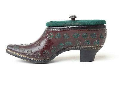 19th C. Antique Victorian Leather Shoe Snuff Box Miniature Whimsical