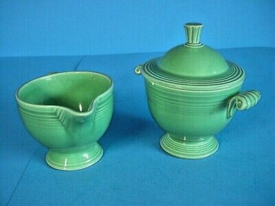 Vintage Mid Century Fiestaware Medium Green Sugar & Creamer Set